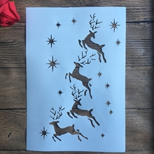 A4 29 * 21cm Christmas deer DIY Stencils Wall Painting Scrapbook Coloring Embossing Album Decorative Paper Card Template,fabric