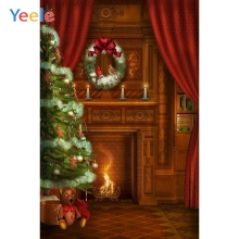 Yeele Christmas Backdrop Tree Fireplace Fire Newborn Baby Birthday Background Custom Photocall Photography  For Photo Studio