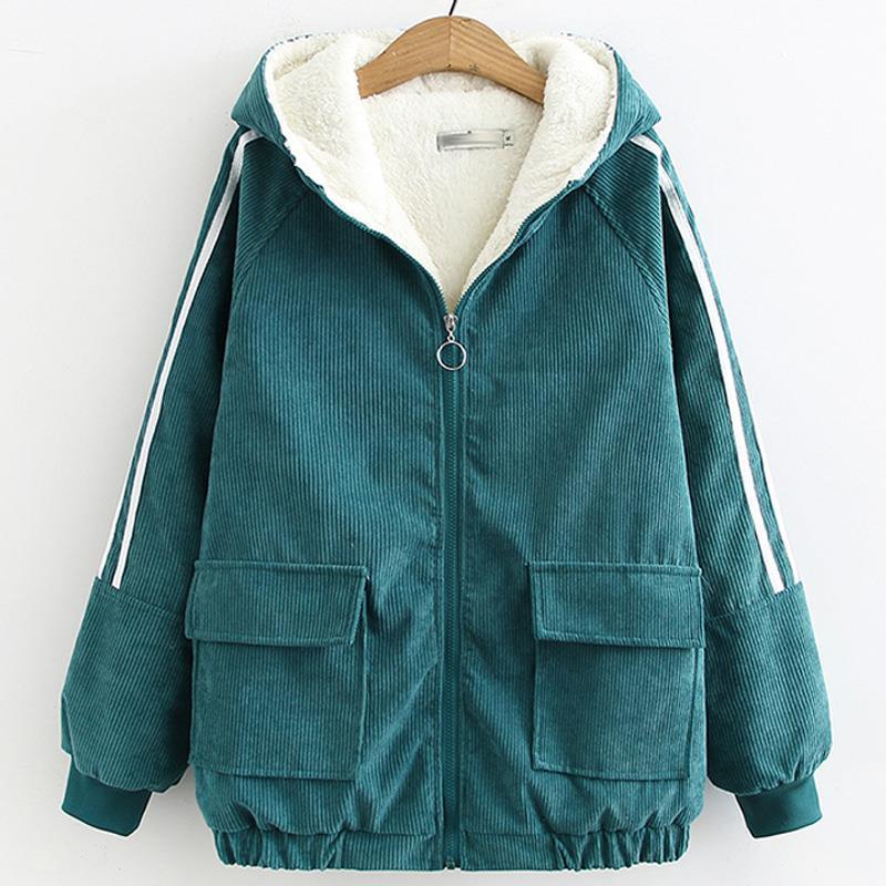 Winter Warm Fur Corduroy Jacket Women Bomber Jacket Green Denim Jacket Female Coat with Warm Lining