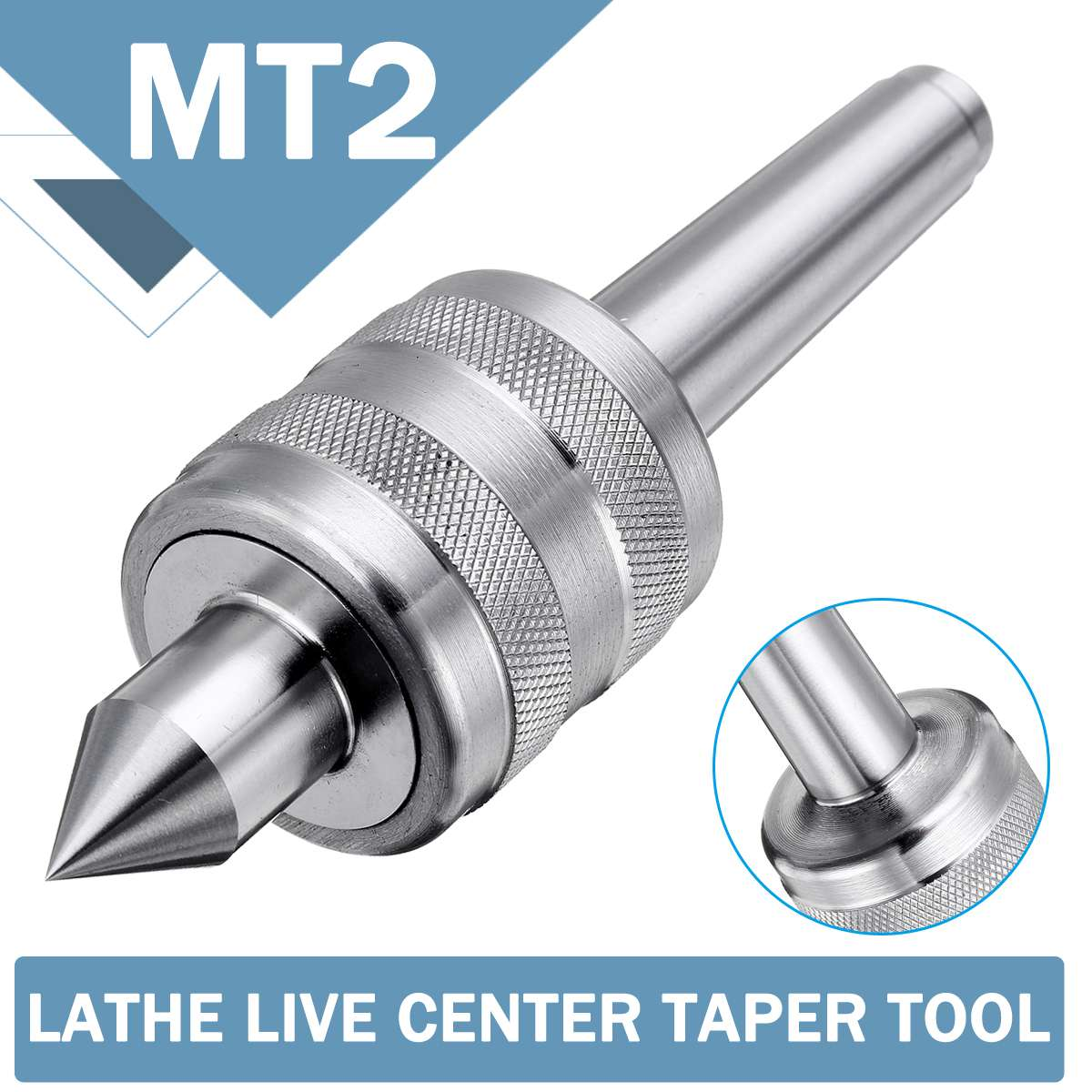 MT2 Accuracy Steel Silver 0.001 Lathe Live Center Taper Tool Live Revolving Milling Center Taper Machine Accessories
