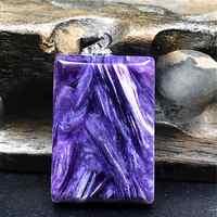 Натуральное фиолетовое ожерелье Charoite, кулон, ювелирные изделия для женщин, женщин, мужчин, любовь, подарок, серебро 925 пробы, Кристалл 22x15x5 мм,...