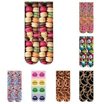 цена на New Fashion 3D Printed Women Cotton Socks Creative Food Donuts Ice Cream Hamburger Short Socks Sports Elastic Compression Socks