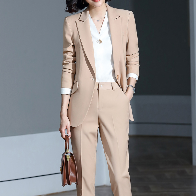 Hot Apricot Green Female Elegant Women's Pants Suits Sets Ladies Trouser Jacket Dress Blazer Suits 2 Pieces Costume Blouses Set