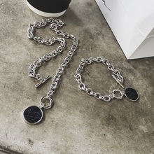 2019 New Marble Chain Short Necklace Bracelet Set Disc Cuff Coin Bangle Fashion Acrylic Bangles & For Women