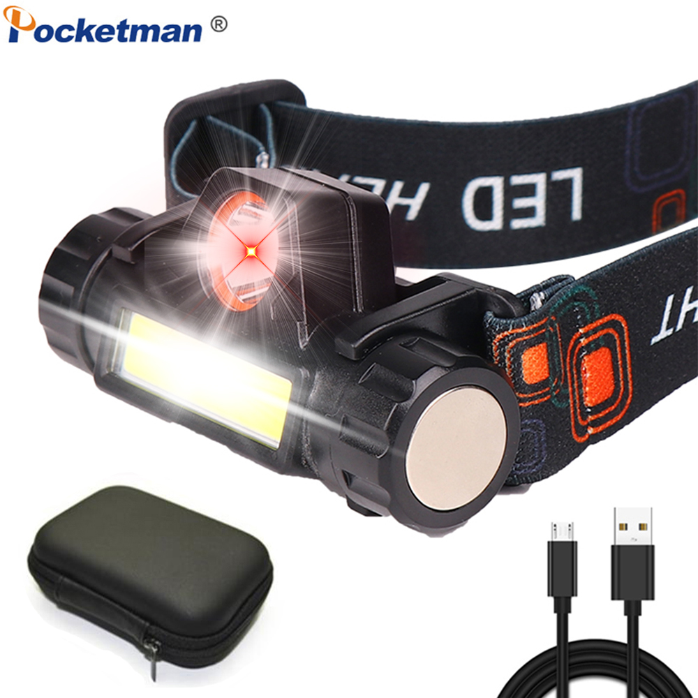 Powerful XPE+COB Headlight USB Rechargeable Headlamp Waterproof Head Torch Head Lamp Camping Head Light With Built-in Battery