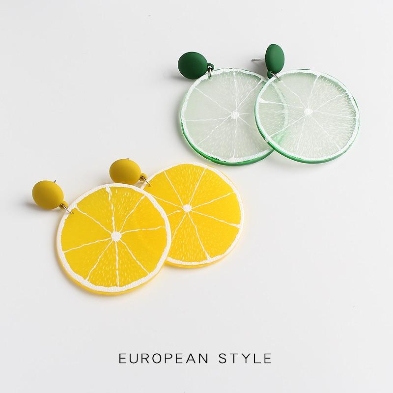 Женские Висячие серьги с лимоном, корейский стиль, летние сережки из полимерной смолы, ювелирные изделия, 2019