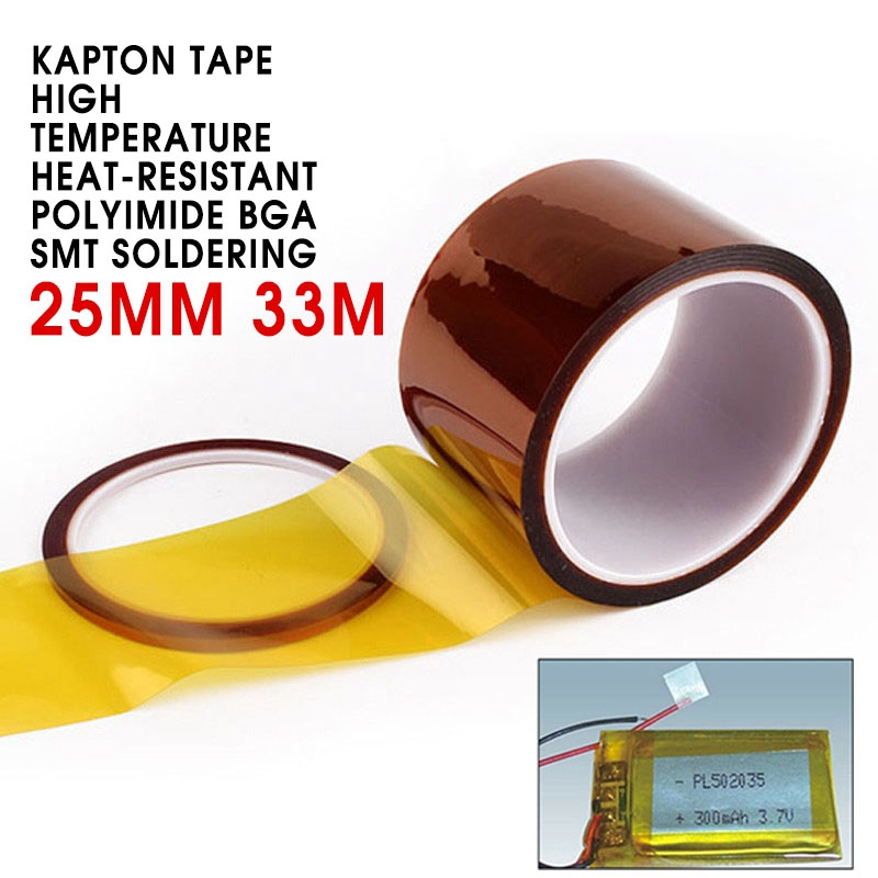 15mm/25mm 33M Kapton Tape High Temperature Heat-Resistant Polyimide BGA SMT Soldering Adhesives Sealers Stickers For Electrical