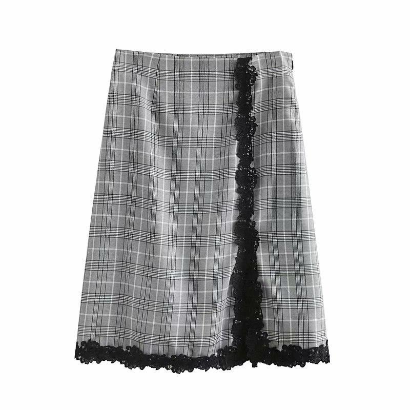 2019 Summer Wear New Style Jie Xilai Plaid Irregular Skirt A- Line Casual Short Skirt Women's WOMEN'S Dress