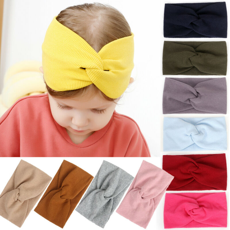 Solid Kids Girl Baby Headband Toddler Lace Cross Hair Band Accessories Headwear