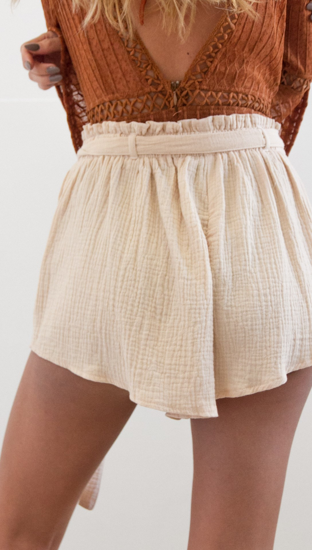 Pop Tide Nice Fashion Women Lace Up Casual Shorts Belt Solid Loose Shorts Sashes Elastic High Waist Summer Shorts - 4
