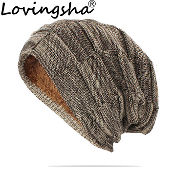 LOVINGSHA Women Men Winter Warm Hat For Adult Unisex Outdoor New Wool Knitted Beanies Skullies Casual Cotton Hats Cap HT143 - discount item  35% OFF Hats & Caps