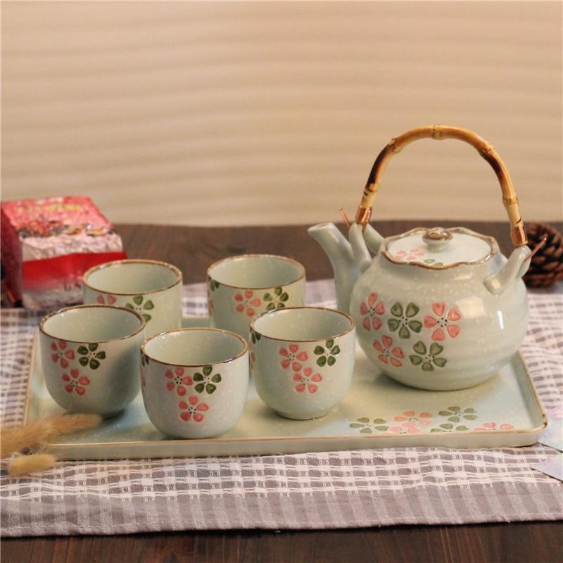 Plateau tasse à thé en céramique | Assiette à thé de style japonais théière en fleurs de cerisier avec filet filtrant faisceau de levage, tasse à thé ensemble de plateaux kungfu sakura