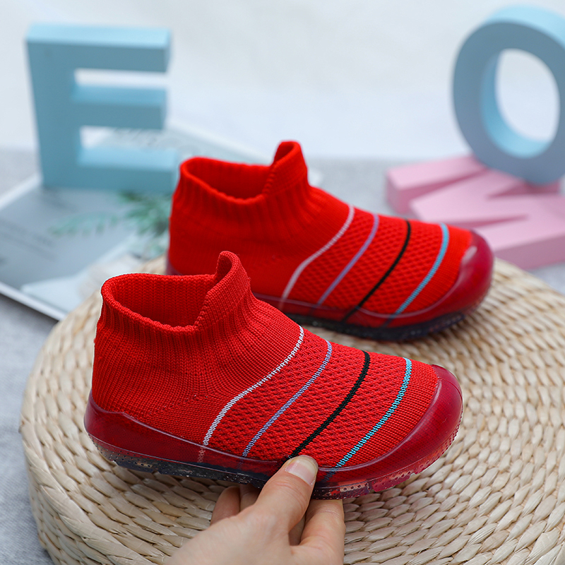 Flying woven baby shoes for men and women, baby crystal shoes, baby walkers, soft crystal soles, non-slip knitted socks shoes