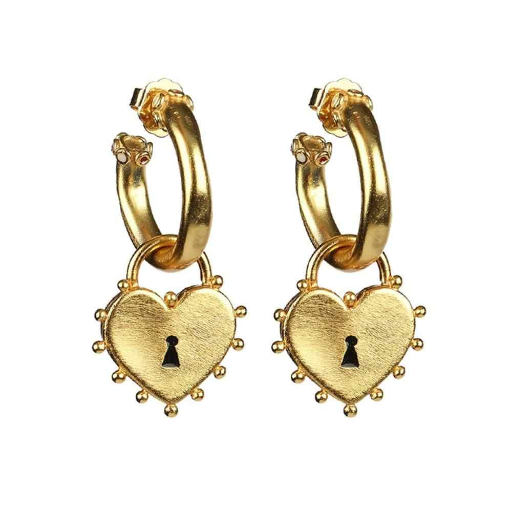 Women Fashion Personality Lovely Heart Lock Earrings Ear Eendants 1Pair Fashion Earrings For Women 2020 Statement #4M16