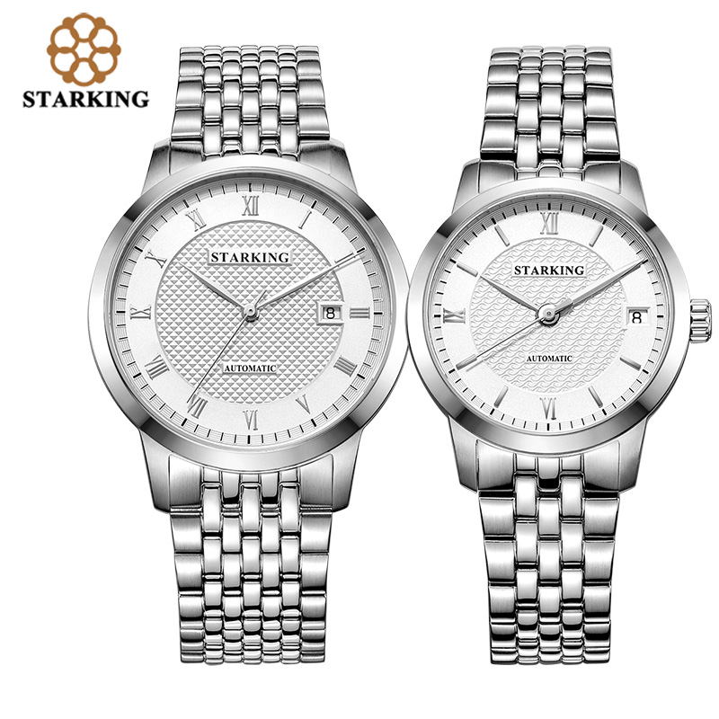 STARKING Lovers'Watches Automatic Full Stainless Steel Roman Dial 28800 Beats Mechanical Couples Wristwatch Relogios Masculinos