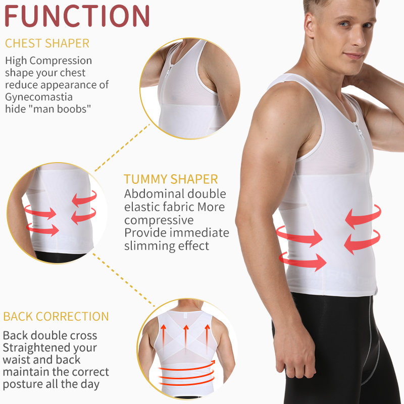 Image 2 - Mens Slimming Body Shaper Gynecomastia Compression Shirts Tummy Control Shapewear Chest Abs Slim Vest Waist Trainer Male Corset-in Shapers from Underwear & Sleepwears