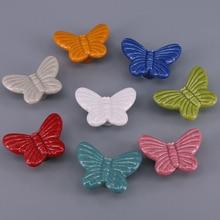 1x vintage Chest drawer knobs Ceramic butterfly kitchen cabinet handle Kids dresser cupboard Wardrobe door Pull