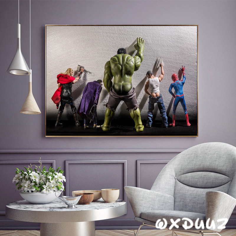 Funny superhero toilet poster family wall art decoration room decoration picture joker hulk spiderman canvas painting o980 image