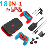 NS Switch Game Accessories Set 18 in 1 Travel Carrying Bag Screen Protector Case Charging Cable Card Case Grip Audio Earphone