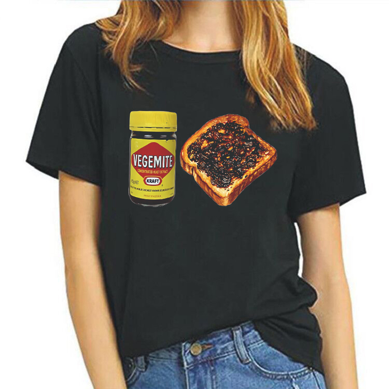 Vegemite Toast Vogue Print Tshirt Short-Sleeved O-Neck Summer Top <font><b>Funny</b></font> <font><b>T</b></font> <font><b>Shirts</b></font> <font><b>Women</b></font> Ulzzang Harajuku Tees image