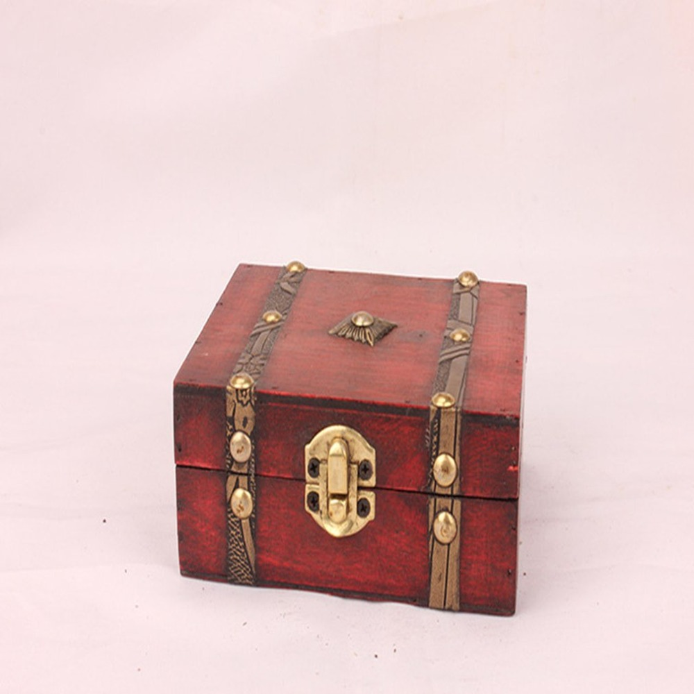 1pcs Chic Wooden Pirate Jewellery Storage Box Case Holder Vintage Treasure Chest For Organizer Wooden Jewe Drop Shipping