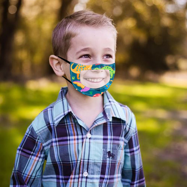 10PC Children Outdoor Mask With Clear Window Visible Expression For Deaf Mute For Protection For Adults Scarf Flag Bandana#3 4