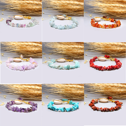 Purple Quartzs Crystal Bracelets For Women Blue Red Natural Stone Chips Bangle Shell Charm Vintage Reiki Jewelry Friendship Gift