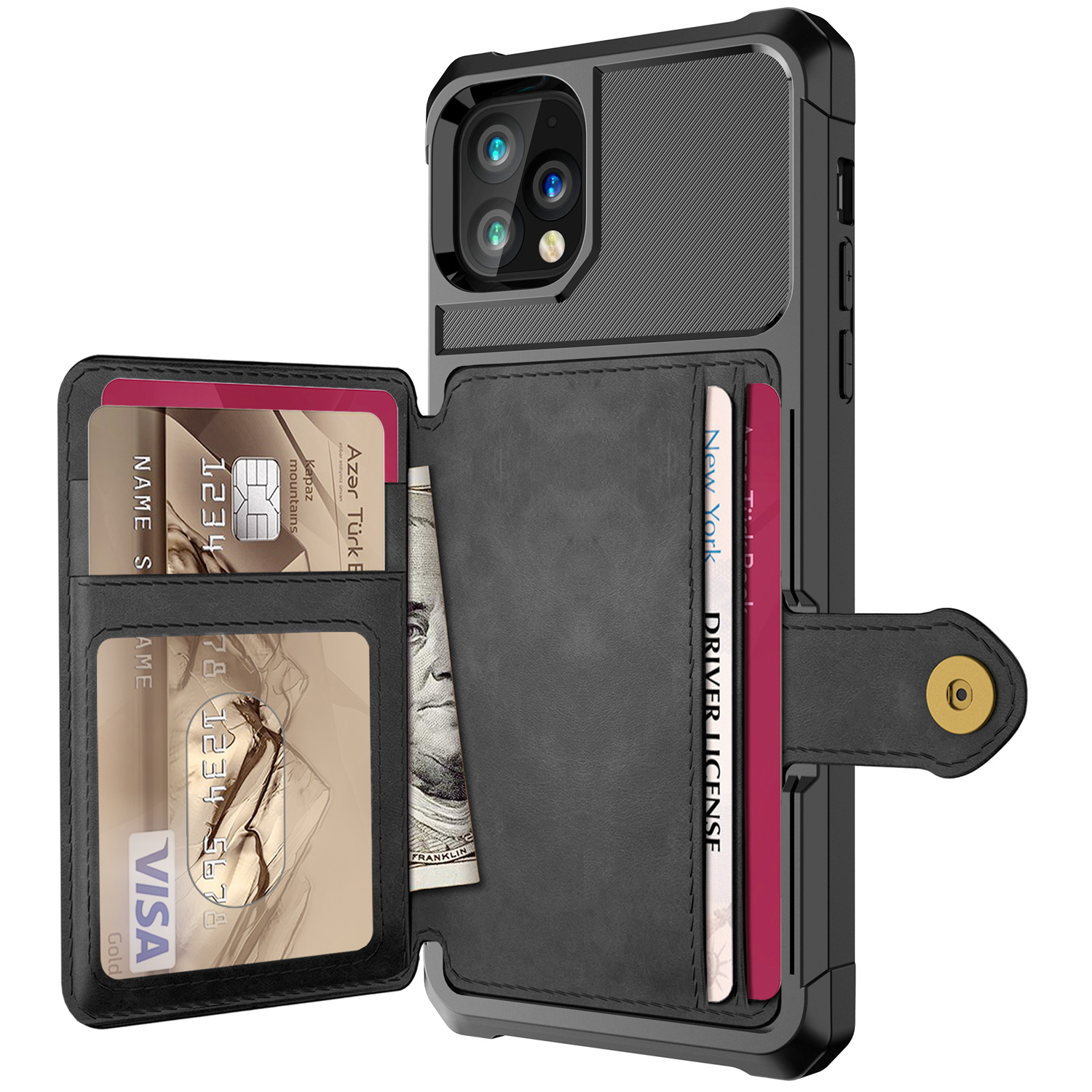 Luxury PU Leather Wallet Flip Cover Buckle Wallet Case for iPhone 12 Pro Max