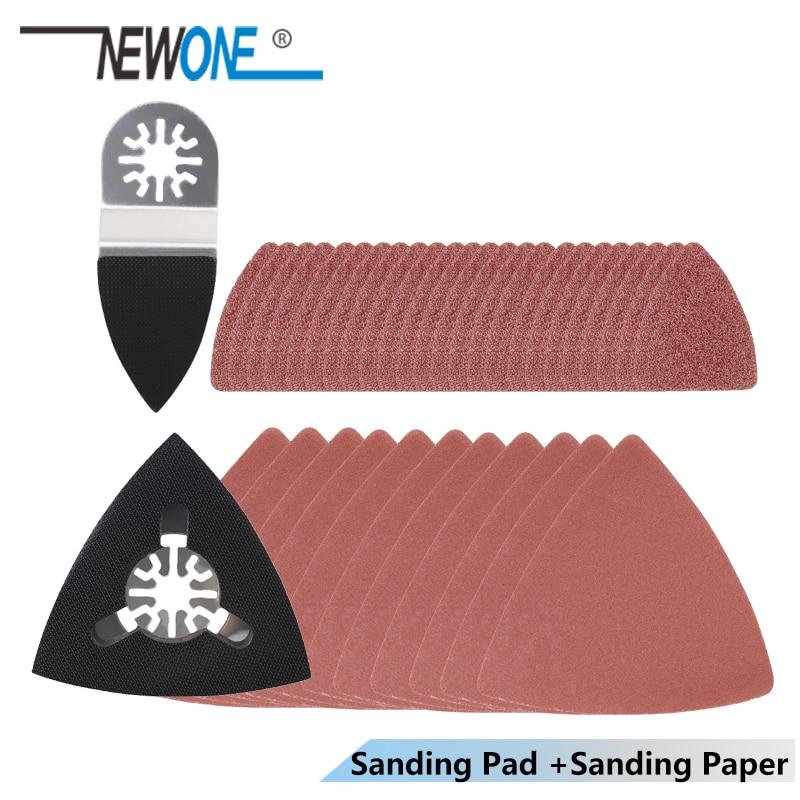 NEWONE Oscillating Tool Sand Paper+ Finger/Triangle Sanding Pad For Fein Dremel Power Tool Abrasive Sandpaper Hook & Loop