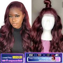 13x4 Lace Front Human Hair Wigs 99J/Burgundy RedWine Pre Plucked Body Wave Lace Wigs 150% Density Brazilian Remy Hair Wig KEMY