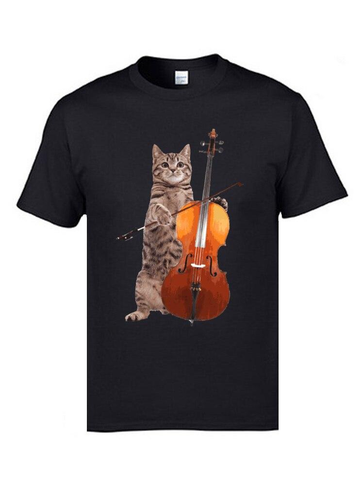 Black Cat Cute pussycat  Men/'s white short sleeve cotton T Shirt
