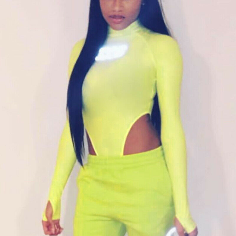 Sexy Womens Long Sleeves Neon Green Plausuits Autumn Slim   Jumpsuit   Rompers Tops710
