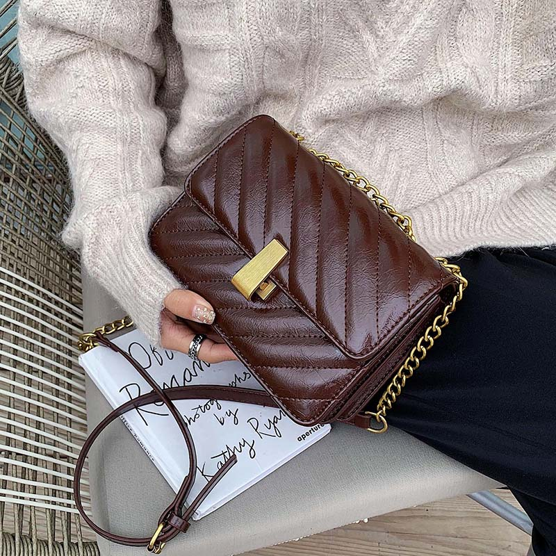 Retro Leather Solid Color Crossbody Bags For Women 2020 Fashion Shoulder Messenger Bag Lady Chain Handbags And Purses