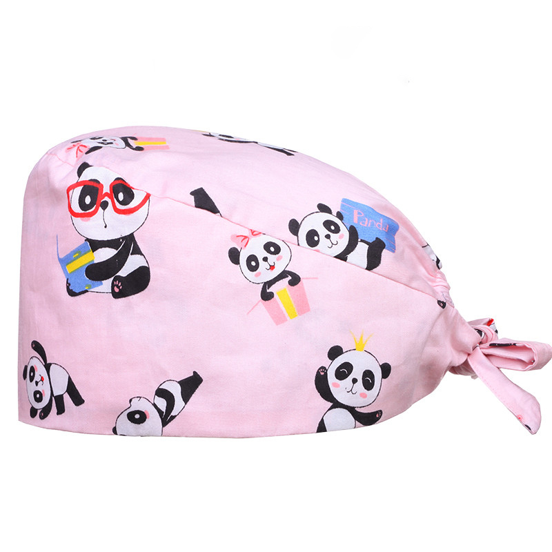 Panda Skull Medical Surgical Caps Chef Work Hat Beautician Nursing Cotton Hats For Women And Men Tieback Nursing Hats