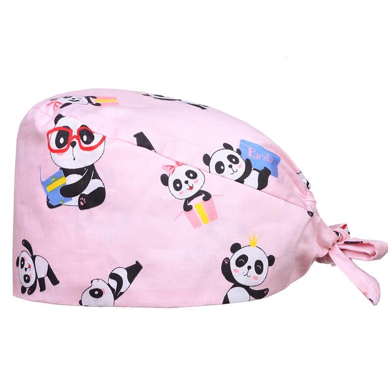 Panda Skull Medical Surgical Caps Chef Work Hat Beautician Nursing Cotton Hats For Women And Men Tieback Nursing Hats