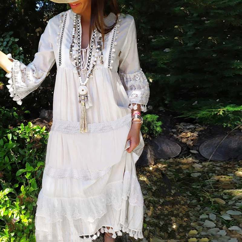 2019 Fashion Autumn Long Dress VONDA Womens Sexy V Neck Long Sleeve Bohemian Party Dresses Casual Beach Sundress Plus Size S-5XL