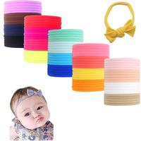 100Pcs 20 Mix Colored Premium Quality Nylon Nude Headbands - Soft and Stretchy for Newborns, Baby and Toddlers Perfect for DIY