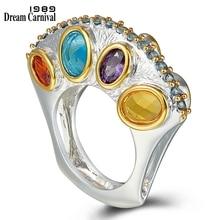 DreamCarnival1989 Angebote Aufrecht Design Versprechen Hochzeit Engagement Ringe für Frauen Unendlichkeit Farben Zirkon September WA11710