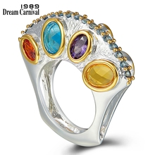 Dreamcarnival1989 especiais design vertical promessa casamento anéis de noivado para feminino infinity cores zircon setembro wa11710