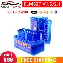 Recente elm327 pic18f25k80 bluetooth v1.5 scanner automático 1 camada pcb elm 327 25k80 obdii scanner de diagnóstico ferragem 1.5 andorid pc