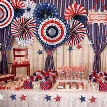 NEW 6PCS Paper Fan for USA Patriotic Decorations Independence Day 4th of July Decorations
