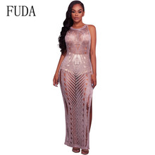 FUDA High Craft Sexy Crochet Knitted Hollow Out Maxi Dress Summer Sleeveless O-neck Perspective Grid Long Beach Ropa Mujer