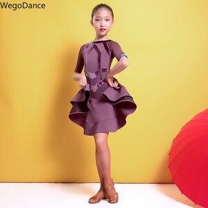 Новое Детское летнее платье для соревнований, профессиональное платье для латиноамериканских танцев, сальсы, рост 110-170 см