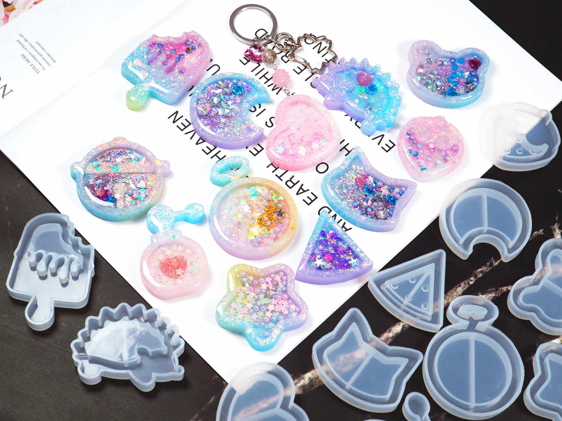 1PC Shaker Mold Jewelry Mold Key Chain Pendant Resin Epoxy AB Resin Shaker Charm For DIY Jewelry Making