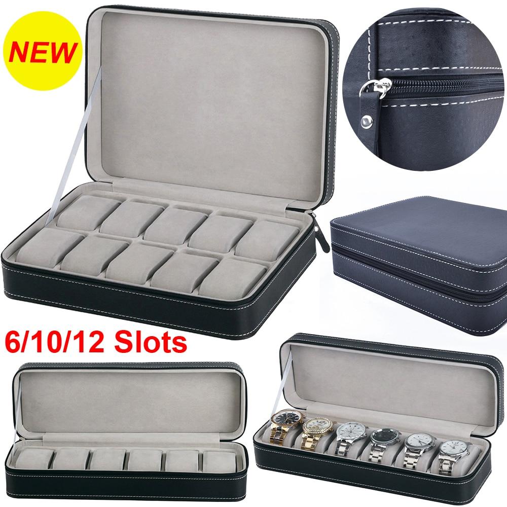 6/10/12 Slots Black Watch Box Portable Travel Watch Zipper Case Watches Collector Watch Storage Box Watch Organizer Holder D30