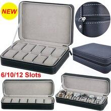 Caixa portátil de relógio de viagem, caixa preta de armazenamento para relógio de viagem, 6/10/12 espaços, suporte para guardar relógio d30