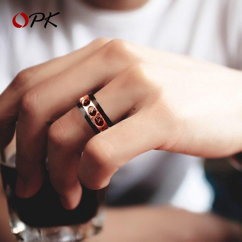 OPK hommes bijoux mode anneau peut tourner romain numérique hommes anneau coeur hommes hip hop personnalité net rouge titane acier alimentaire anneau