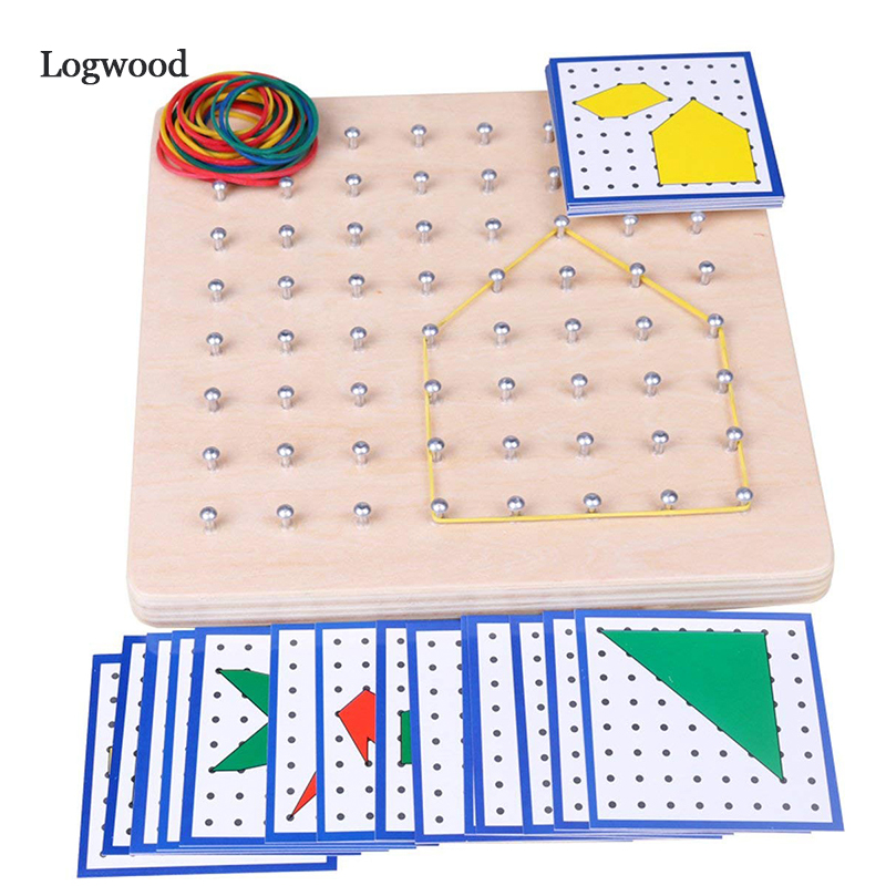 Baby Toy Montessori Creative Graphics Rubber Tie Nail Boards With Cards Childhood Education Preschool Kids Brinquedos Juguete