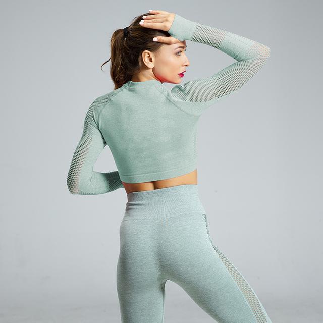 Women Energy Seamless Yoga Sets Sexy Breathable Mesh Knitted Gym Set 2 Piece Sportswear Long Sleeve Top+High Waist Yoga Leggings