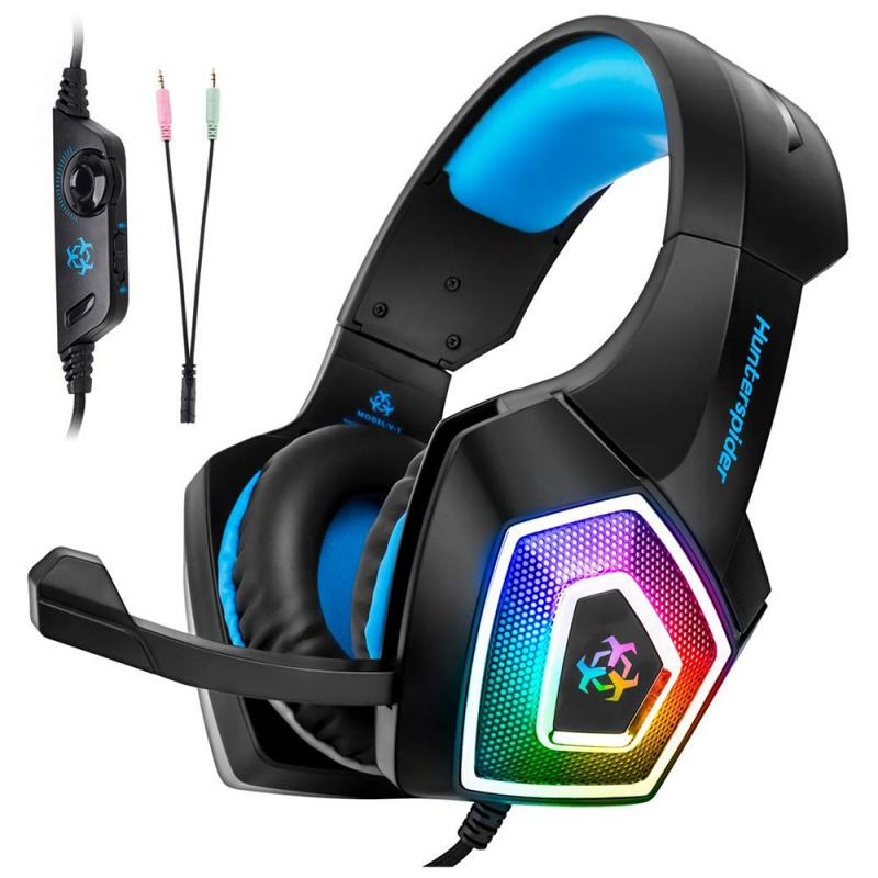 New HUNTERSPIDER V1 Gaming Headset with Mic LED Headphones Stereo Bass Heaphone With Mic LED Light for PS4 Xbox image